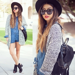 Linh Nguyen - Stylestalker Cardigan, Cicihot Romper, Dailylook Backpack, Ami Cutout Booties, Céline Sunglasses - Playauits + knits