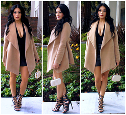 Marina Hidalgo - Romwe Coat, Shoedazzle Strappy Heels, Justfab Skull Bag, Ami Clubwear Plunge Top, Bebe Faux Leather Skirt - Confidence It's What Makes A Girl Sexy