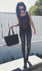 Meli P. - Messeca Ankle Boots, Bebe Skinny Jeans, Sheer Sequin Tank Top, Free People Amazing Tote, Bebe Big Cat Eye Sunnies - The Uniform