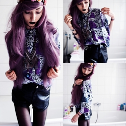 Kimi Peri - H&M High Waisted Leather Shorts, Second Hand Vintage Blouse, H&M Flower And Spike Headpiece - Milotic