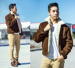 Christopher Michael - Levi's® Corduroy Sherpa  Demitasse Brown, Ecko Tan Denim Pants, Guess? Boots, Hanes V Neck - THE HIGH ROAD