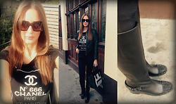 Amina Allam - Post Scriptum Printed T Shirt, Marc By Jacobs Sunnies, Sandro Padded Leather Bomber, Céline Bag, Christian Louboutin Studded Boots - N°666 Chanel Paris
