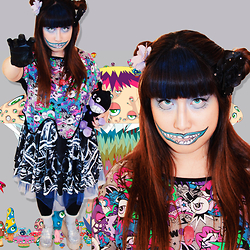 Tammy Baker - Black Milk Clothing Bone Machine Vs Galaxy Blue Inside Out Dress, Acdc Rag Crop, Unif Hella Jellys, Black Milk Clothing Sporty Stripes Hosiery - Harajuku Zombie Girl