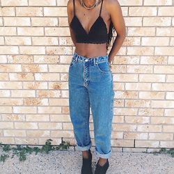 Joey Kollie - Joey Bralette, American Apparel Mom Jeans, Windsorsmith Boots - Bralette