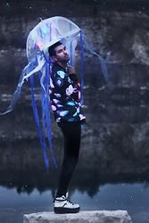 Bobby Raffin - Black Milk Clothing Jellyfish Rainbow Bf Bomber, Black Milk Clothing Wet Look Leggings, Diy Jellyfish Umbrella Costume - The Jellyfish