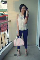 Justine Bardelosa - American Eagle White Sheer Top., Lacoste Pink Handbag, Skechers Wrist Watch - November First.
