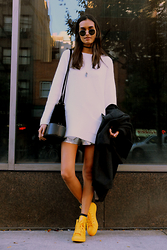 Gizele Oliveira - Vince Camuto Sweater, Urban Outfitters Bag, American Apparel Silver Shorts, H&M Coat, Converse Sneakers, Ray Ban Sunglasses - Yellow converse