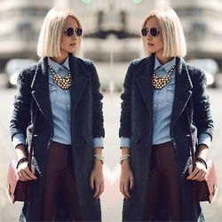 STREETCHATELLA ♥ - Topshop Coat, Zara Jeans Shirt, Zara Sunglasses, H&M Pants, Forever 21 Bag - - Doubled -