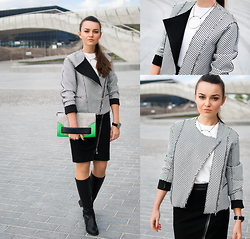 Style on Camera _ - Frontrowshop Jacket, House Top, Mohito Skirt, House Boots, H&M Bag, Erbs&Bjerke Necklace - Zip