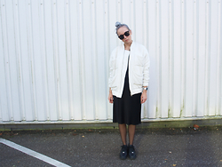 Zoé Hermsen - Carin Wester Jacket, & Other Stories Skirt, Nike Shoes - Black White