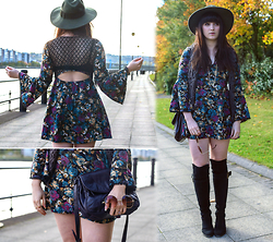 Rachael Dobbins ♡ - Kiss The Sky Winter Floral Dress, Tk Maxx Knee High Boots - Kiss the Sky