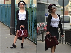 Joanna P. - Asos Cardigan, H&M White Top, Zara Skirt, Zara Burgundy Shoes, Modress Bag, Pimkie Hat - Vamp