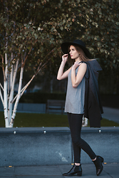 Georgie P - Topshop Black Floppy Hat, Mango Grey To Black Coat, Topshop Chelsea Boots, All Saints High Neck Grey Top - Casual Sunday