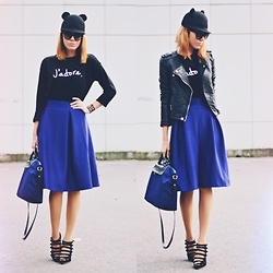 Paris Sue - Missguided Jumper, Romwe Skirt, Prada Sunnies, Choies Hat, H&M Jacket, Furla Bag, Jessicabuurman Heels - J'adore.