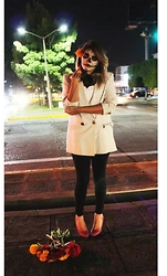 Mish Sky' - Oscar De La Renta Coat, C&A Stiletto, Zara Black Leggings - Expensive death suit.