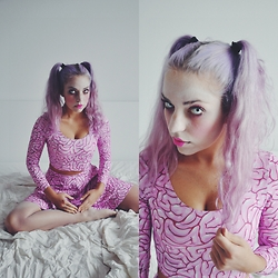 Nika N. - Black Milk Clothing Braaains Ls Crop, H&M Stockings - Zombie doll