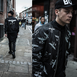 Mago Dovjenko - Boy London Reversible Bomber Jacket, Boy London Cap, Boy London Long Button Up Shirt, Boy London Jogger, Nike Air Force 1 Black - BOY IN LONDON