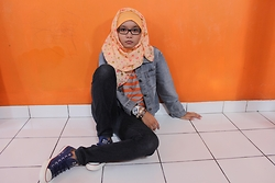 Wulan F. Y. - Converse Chuck Taylor All Star Blue Sneakers - Orange Attack