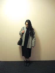 Suri May - Thrifted Oversized Coat, Thrifted Pleated Maxi Skirt, Topshop Cropped Sweater, & Other Stories Bag, Topshop Ankle Boots - Makeshift midi dress