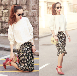 Mayo Wo - Monki Sweater, Frontrowshop Faux Leather Floral Skirt, Msgm Furry Heels - Tail tale