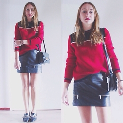 Magna G. - Zara Red Sweater, Asos Lock Bag, Zara Leather Skirt With Zippers, Zara Heavy Embellished Loafers - Red sweater & black leather skirt
