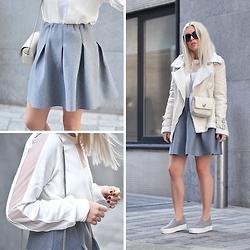 Dena T. - Ivyrevel Kick Bright White Sweatshirt, Glamorous Grey Marl Structured Flared Skirt, Asos Grey Felt Slip Ons, Asos White Shearling Biker Jacket - NEUTRAL COLORS