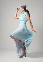 Emilie Martin - Inpasttimes 1970s Seafoam Chiffon Vintage Dress - Seafoam is my favorite