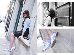 Aurelia / Fashion is a Playground - Miista Shoes, Sessun Sunglasses, Claudie Pierlot Dress, Oysho Shirt - Holographic
