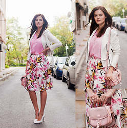 Viktoriya Sener - Bb Dakota Jacket, Dresslink Blouse, Sheinside Skirt, Mango Heels, River Island Bag - PINK FLOWERS