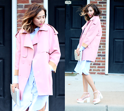 Queen Horsfall - Romwe Platform Heels, Frontrowshop Shirtdress, Chic Wish Pink Coat, Chanel Silver Clutch (Sample) - Candish