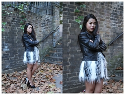 Thuy Pham - Celeblook Faux Fur Vest, Lindex Leather Jacker - Hello November
