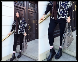 Carmen Adan - Choies Poncho, Balenciaga Sunglasses, Balenciaga Bag, Zara Legging, &Other Stories Plateau Booties, H&M Chain Isabel Marant For, H&M Socks New Collection A/W2014, Zara Wooldress - TRENDY PONCHO GEOMETRIC MEETS PLATEAU
