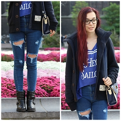 Lauranne Fait des bêtises - Choies Destroy Pants, Hollister Coat, Jollychic Shirt Hey Sailor, Jollychic Bag, Babou Boots - Hey Sailor !