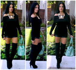 Marina Hidalgo - Mart Of China Top, Bebe Faux Leather Short, Justfab Handbag, Charlotte Russe Over The Knee Boots - Black Everythannnnngggg