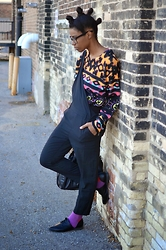 Sushanna M. - Minkpink Multi Color Multi Pattern Sweater, Thrifted Black Cropped Overalls, Sammy Icon Light Purple Red Polka Dot Socks - All Mixed Up