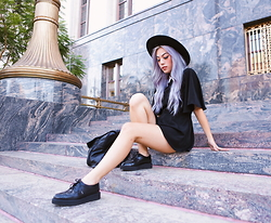 Ellen V. Lora - H&M Wide Brimmed Haat, Oh My Love Nightfall Lace Collar Playsuit, T.U.K. Shoes Black Wingtip Creepers - Nightfall
