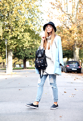 Sabrina Tassini - Romwe Coat, Pinko Hat, Romwe Jeans - Boyfriend jeans for casual day