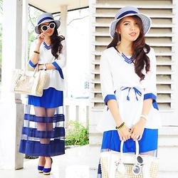Wenny Yolanda - Graciaz Round Hat, Its Molli Blue Necklace, La Petite Closet Blue And White Top, I Love Pink Transparent Skirt - Sky Color (GIVEAWAY ON MY BLOG)