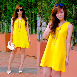 Jannelle O. - Zerouv Sunnies, Call It Spring White Heels, Apartment 8 Tent Dress - Yellow Bell