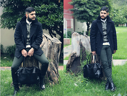 D.Henao Borneo - Alpha Indistries Peacoat, Dr. Martens 1460 Boots, Adidas Balling Bag, United Colors Of Benetton Bomber, Pull & Bear Skinny - Military Tendences