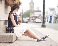Sabrina Kwan - Navy Keds, Ruche Lace Skirt, Studded Bag - Casual lace