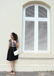 Terese Pham - H&M Top, Forever 21 Bag, Forever 21 Sandals - Navy stripes