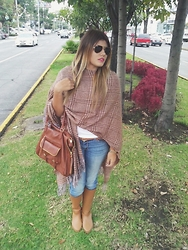Mish Sky' - Love Rainy Boots, American Eagle Jeans, La Mode Poncho, Steve Madden Bag, Ray Ban Sunglasses - Poncho! why not?