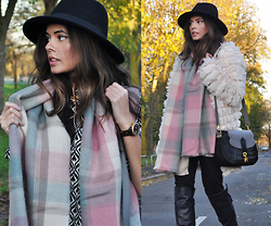 Frances Coyne - Louche Keekee Top, Waven Black Asa Jeans, Ravi Famous Tasha Shaggy Fur Coat, Primark Black Fedora, Primark Pink Tartan Scarf, Wicker Wings Blake Grey Bag, Get The Label Tall Buckle Over The Knee Boots - Bonfire Night
