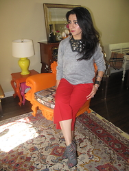 Well-Put-Together WPT - H&M Sweater, Club Monaco Pants, Fabi Shoes, Fendi Watch, Yoox Bib Necklace - Plaid & Sweater