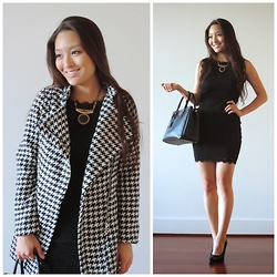 Kimberly Kong - Oasap Coat, Jurate Necklace, Deb Lbd, Prada Bag, Kohl's Simply Vera Heels - The Houndstooth Coat