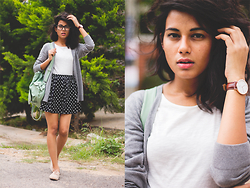 Ritu Arya - Romwe Mint Backpack, Forever 21 Grey Cardigan - Habits Of My Heart