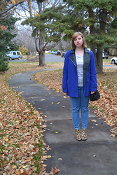 Elizabeth Claire - Delia's Blue Coat, Forever 21 Grey And White Striped Tee, Urban Outfitters Uo High Waisted Jeans, Steve Madden Leopard Print Ankle Boots, Asos Black Bucket Bag - Into the Fog