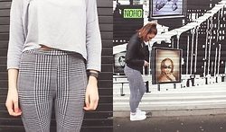 Georgie J - H&M Top, Topshop Houndstooth Leggings, Topshop Leather Jacket, Nike Air Force 1s - Black, White & Grey