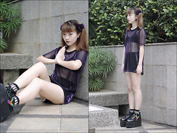 Anna S. - Yru Qozmo, American Apparel Runner Shorts, Wego Japan Transparent Socks, Wego Japan Mesh Shirt - Sheer bliss